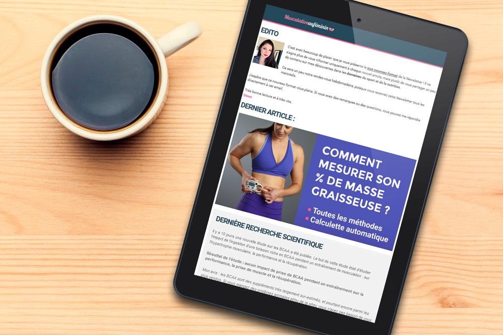 Newsletter musculation femme nutrition