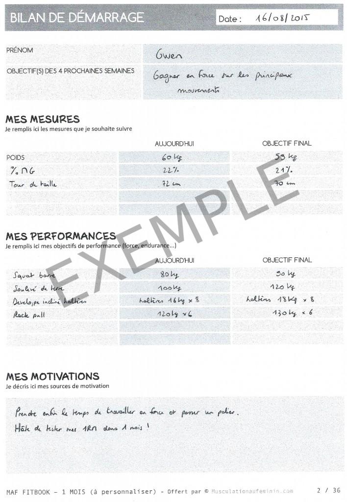 Souvent Gratuit : FITBOOK vierge à imprimer – en français – Musculation au  TK57