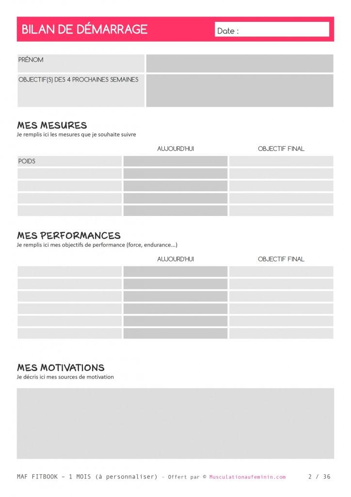 Top Gratuit : FITBOOK vierge à imprimer – en français – Musculation au  RW26