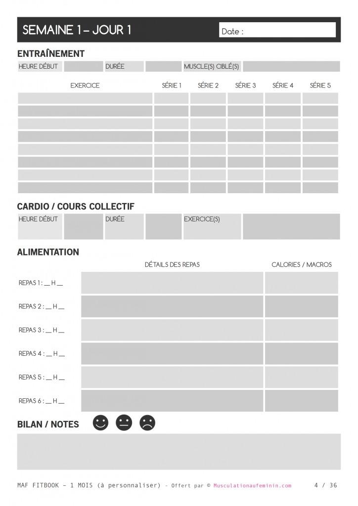 Bien connu Gratuit : FITBOOK vierge à imprimer – en français – Musculation au  LR31